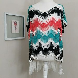 Crochet High Low Tassle Top